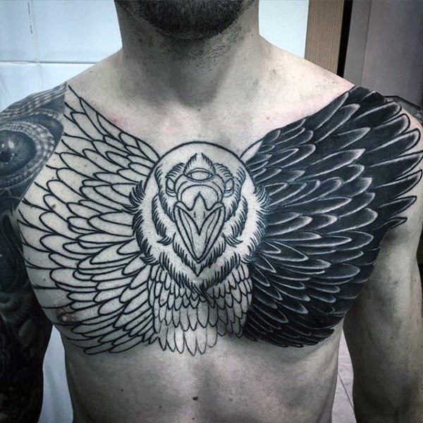 Schwarze Tinte Awesome Pánske obere Brust Eule Tattoo Blackwork Design-Ideen
