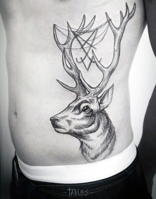 Chlapi Awesome Deer mit Geweih Rib Cage Side Tattoo