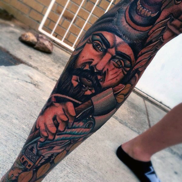 Manly Awesome Herren Bein Ärmel Tattoo Inšpirácia
