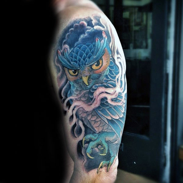 Owl Awesome Pánske halve Hülse Tattoo Ideen