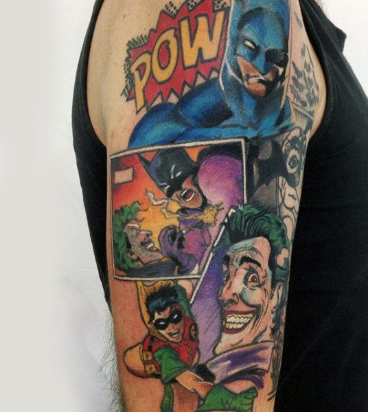 Lengan Atas Batman Dan Robin Komik Strip Tattoo Design