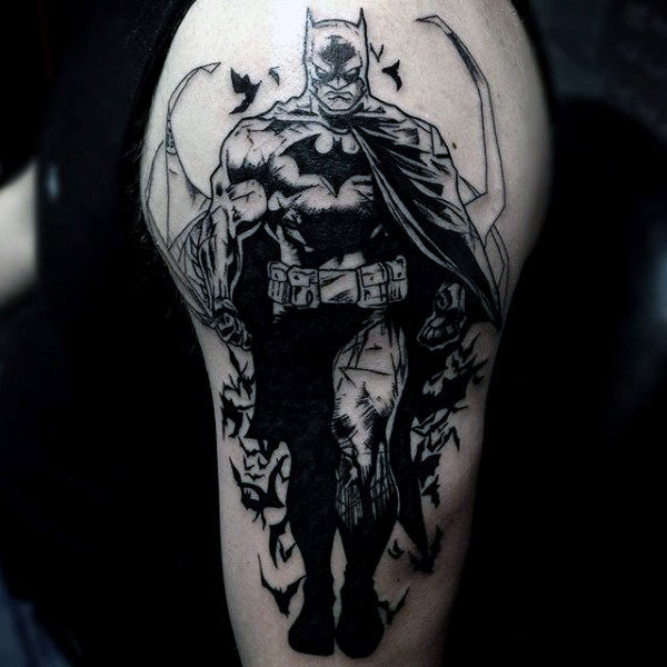 Lengan Atas Black Ink Dark Mens Mens Batman Tattoo Designs