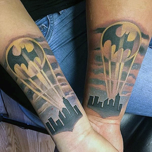 Batman Superman Mens Tattoo