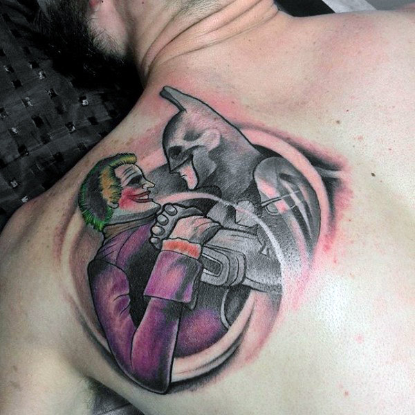 Cool Guys Batman Joker Tattoos On Back Of Blade Bahu