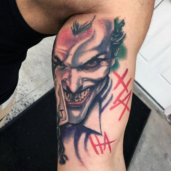 Cool Inner Bicep Joker Batman Tattoos For Guys