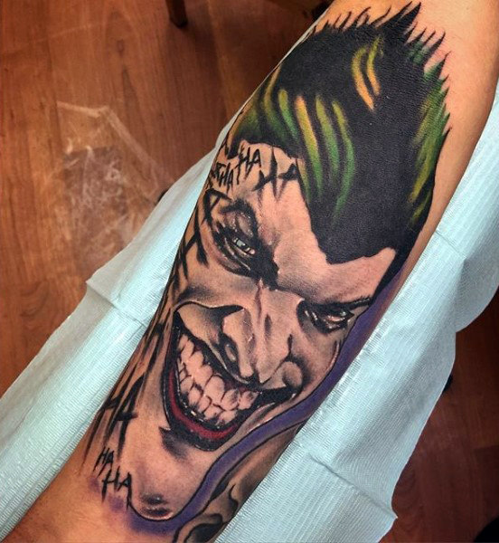 Cool Joker Batman Inner Forearm Tattoo On Man