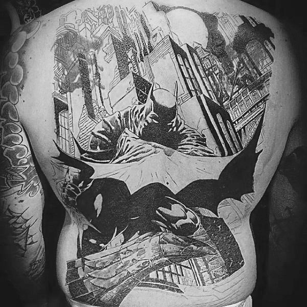 Full Back Black And Ink Grey Mens Batman Tattoos
