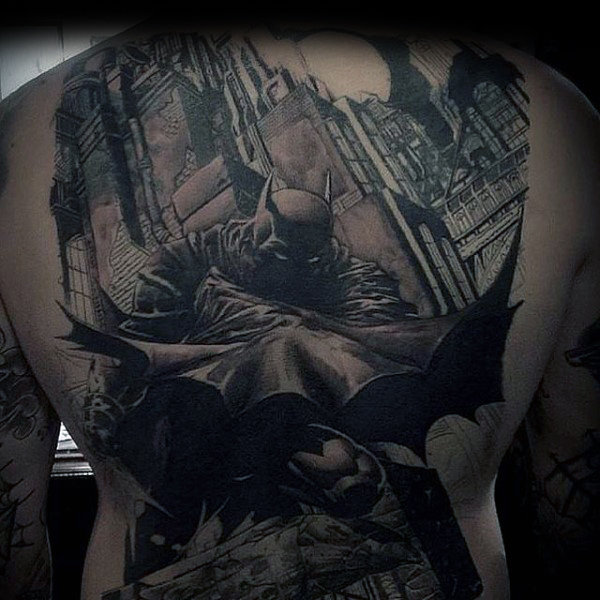 Full Back Flying Batman City Tattoos For Men