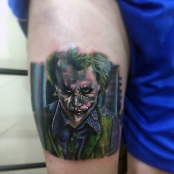 Guys Thigh Joker Batman Tattoo Design Inspiration