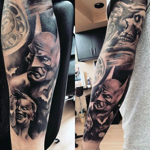 Incredible Mens Lengan Lengan Penuh Batman Bertemakan Tattoo Design Inspiration