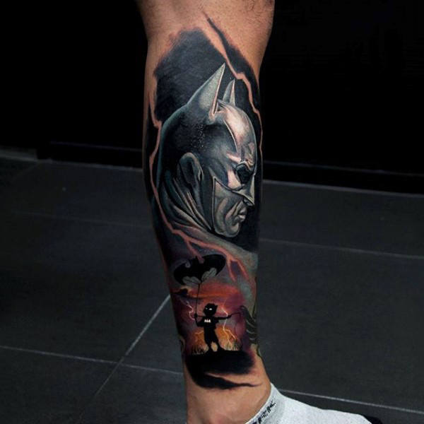 Mens Incredible Lower Leg Sleeve Batman Design Seni Tattoo