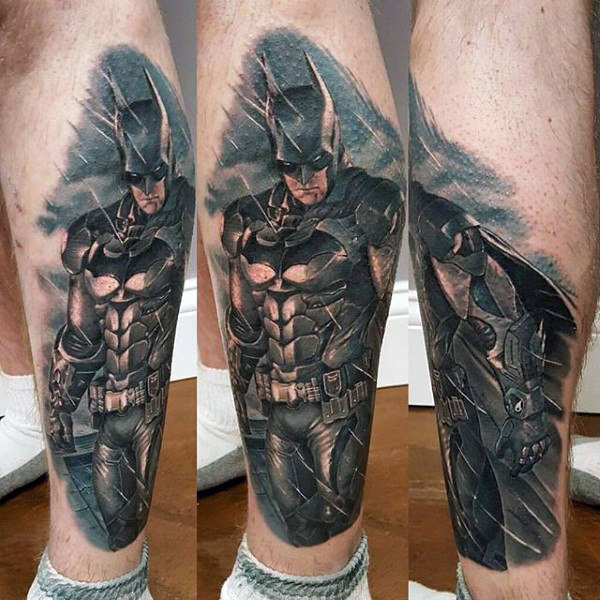 Mens Batman Lower Leg Batman Realistic Design Tattoo