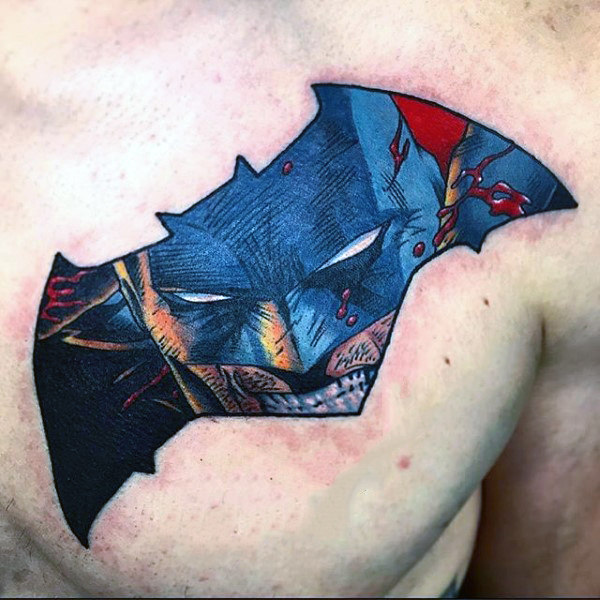 Mens Atas Dada Batman Idea Tatu Simbol