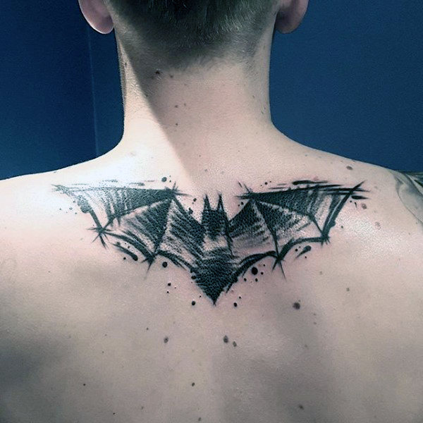 Mens Watercolor Sketched Batman Upper Back Tattoo