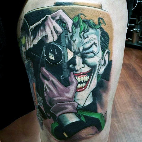 Realistik Joker Thigh Batman Tattoos For Guys