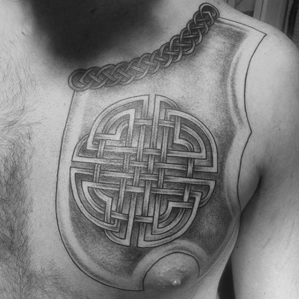Cool Shaded Black And Grey Guys Celtic Knot Upper Dada Tattoo