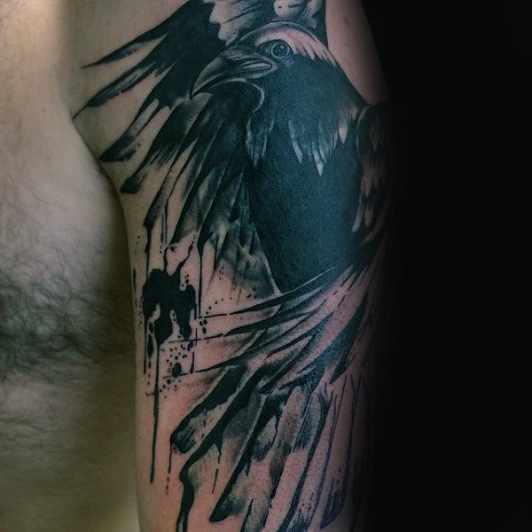 Abstract Guys aquarel Black Crow Tattoo op arm