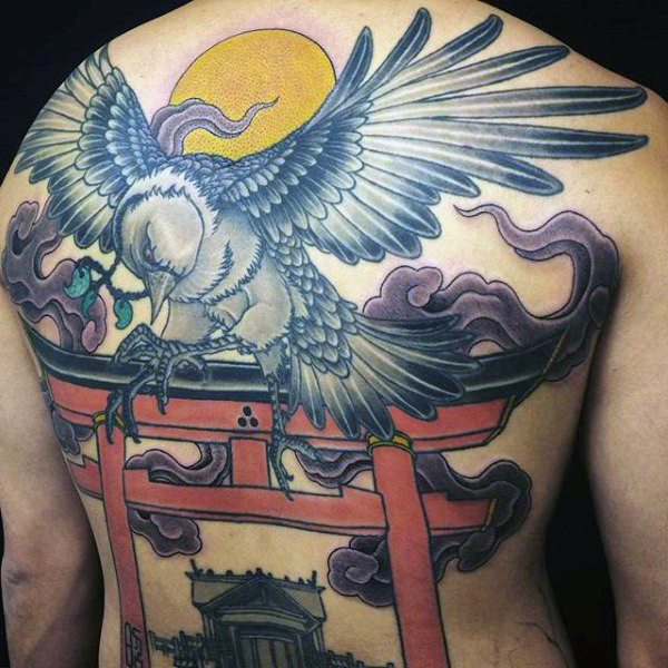 Chinese Mens Full Back Crow Tattoo
