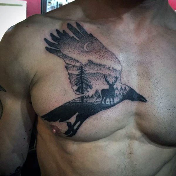 Dotwork Guys Crow Deer In The Forest Chest Tattoo Ideas
