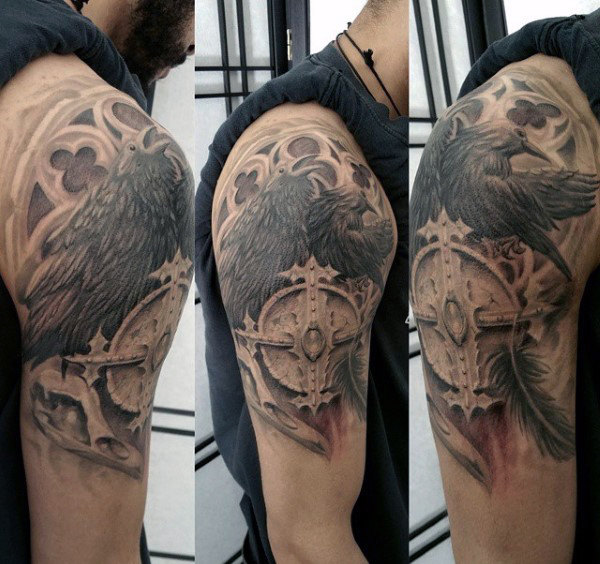 Mens Church venster Black Crow 3d Tattoo ideeën