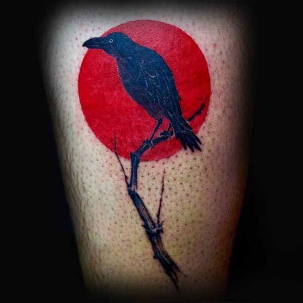 Red Sun Small Crow-tatoeages voor heren