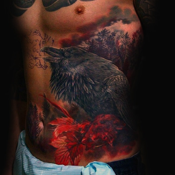 Rib Cage Side Awesome Mens Crow-tatoeages