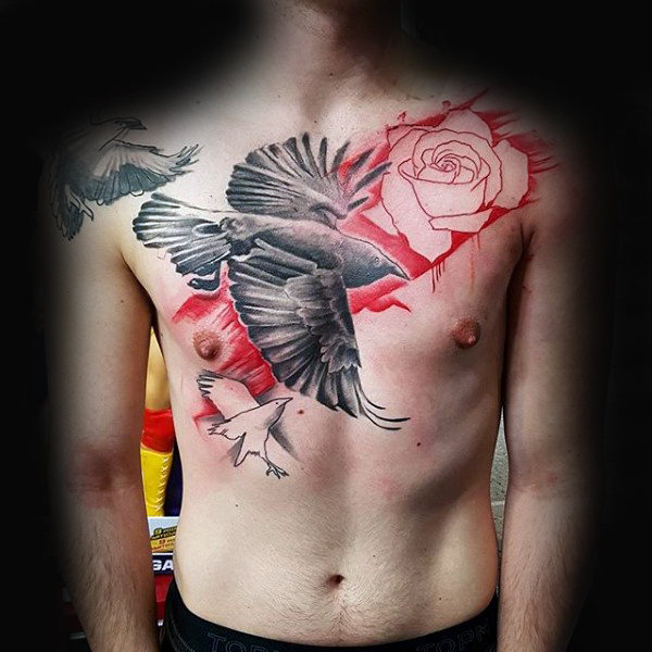 Rose Flower Mens Crow Chest Tattoo ideeën