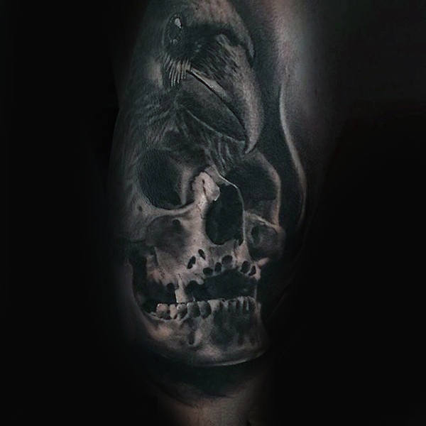 Shaded 3d Skull And Rose Guys Half Sleeve Tattoo Ideas