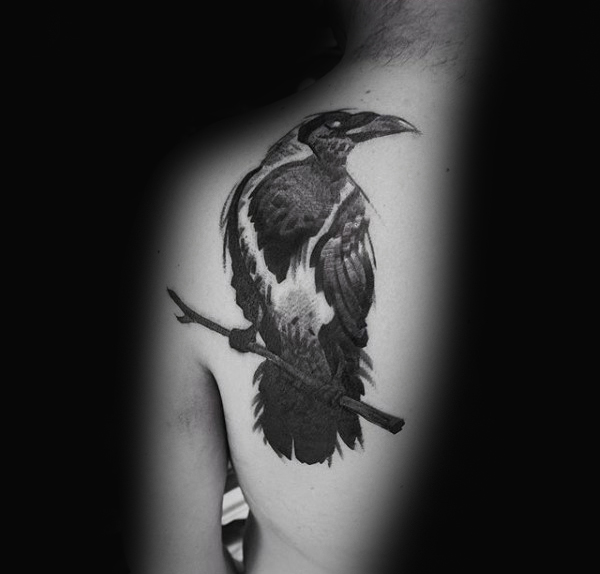 Bovenrug Cool Mens Crow Tattoo Design Inspiration