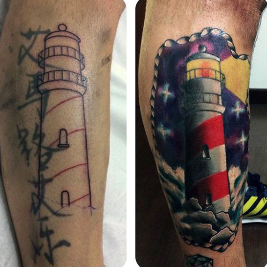 Erkek Deniz Feneri Cover Up Tattoo In Color