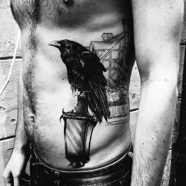 3D Svart Raven On Lampost Tattoo Mens Torso
