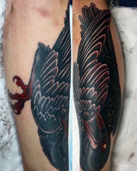 Wonderful Reddish Tonet Black Raven Tattoo Mens Calves