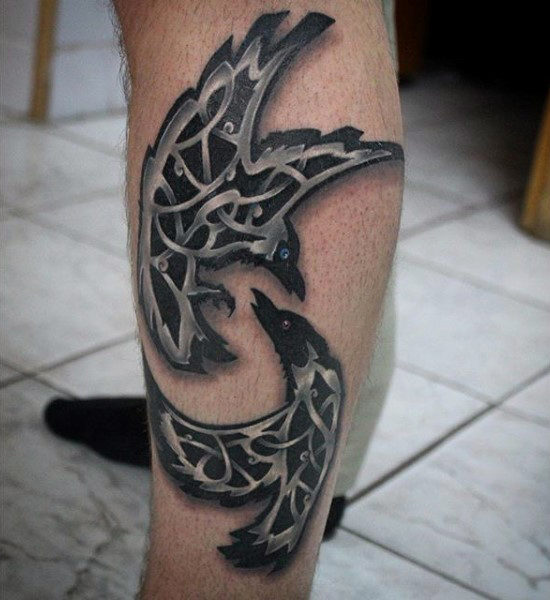 Bekjempe Ravens Tattoo On Calves For Men