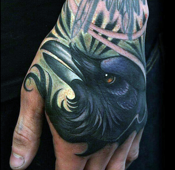 Lovely Raven Head Tattoo Mens Hands