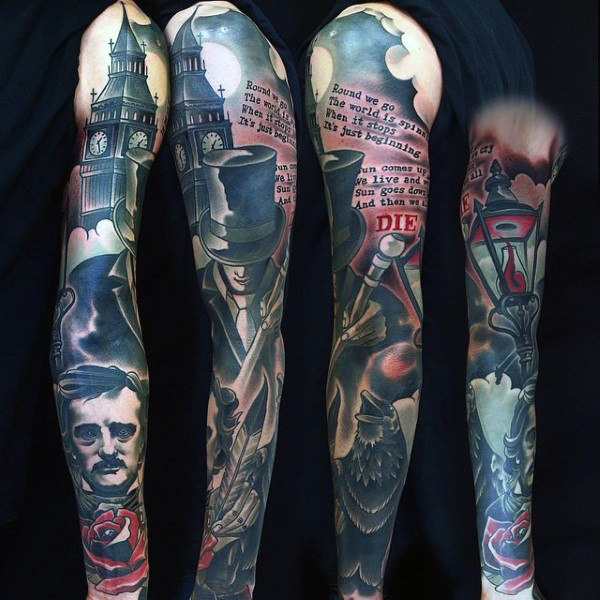 Amazing Raven In City Med Lettering Tattoo For Guys On Sleeves