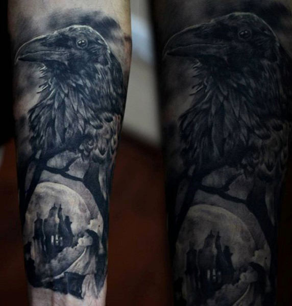 Herre Underarms Beautiful Grey Shaded Raven Tattoo