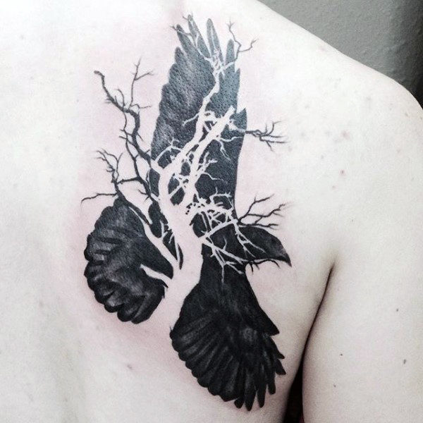 Raven And Tried Branch Of Tree Tattoo Mann Tilbake