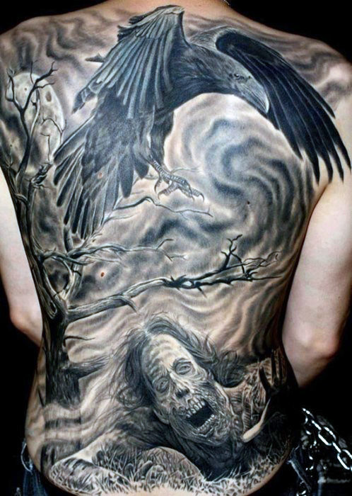 Raven Crow Bird Tattoo Med Ghastly Man På Full Back For Males