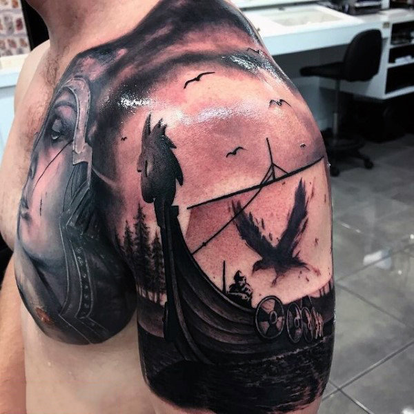 Raven Flying Over A Boat Tattoo Male Shoulder