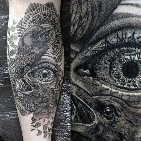 Raven Pair Med Stor Grey Eye Tattoo Male Arms