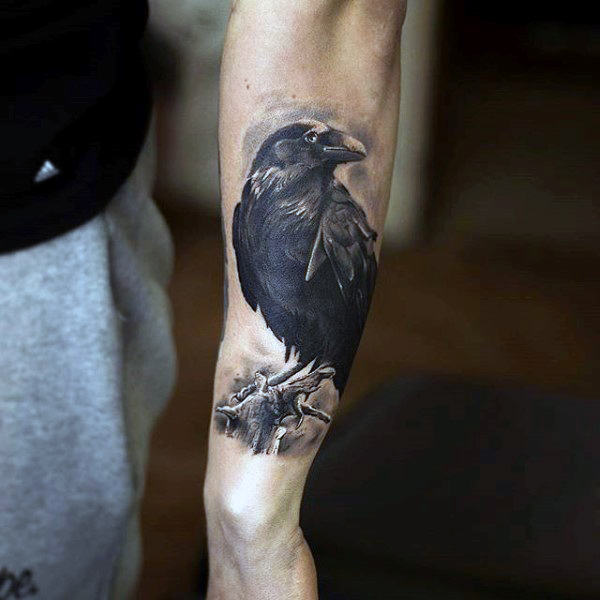 Raven Perched On Branch Tattoo På Underarmer For Guys