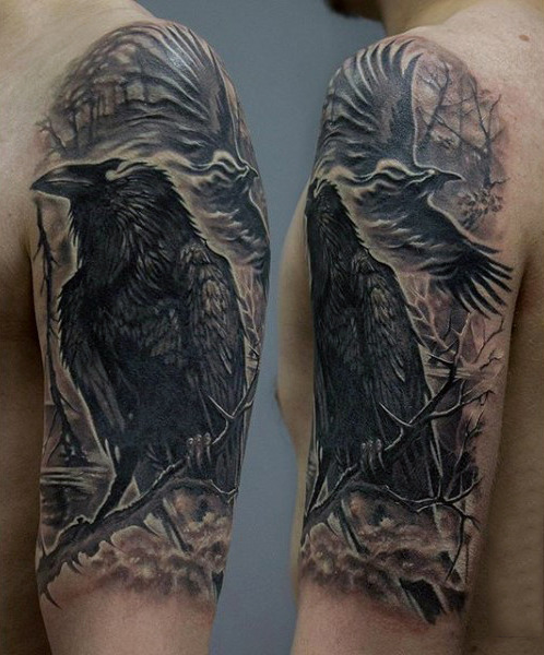 Stunning Back Raven On Twig Tattoo Guys Øvre Arms