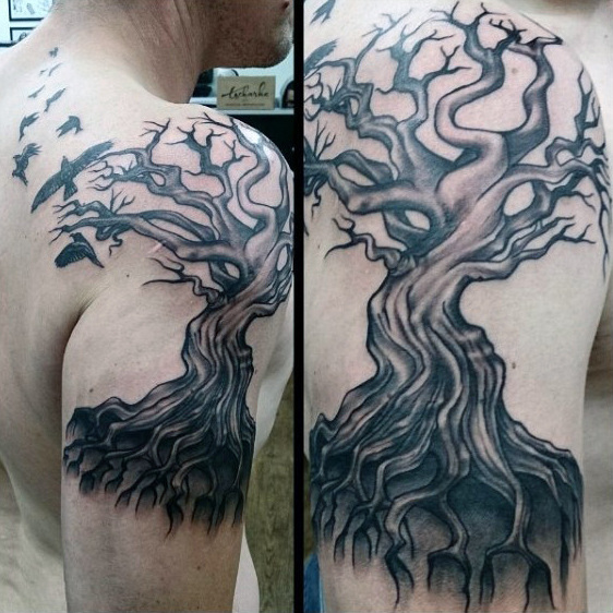Swarm Of Ravens Og Ghostly Tree Tattoo On Shoulders For Men
