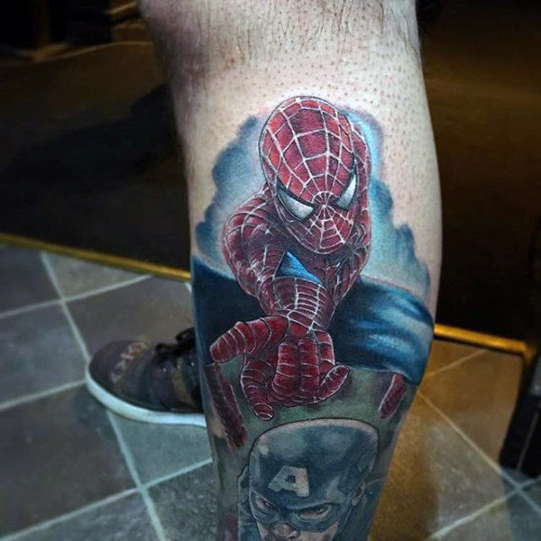 3D Spiderman Tattoo Male Arms