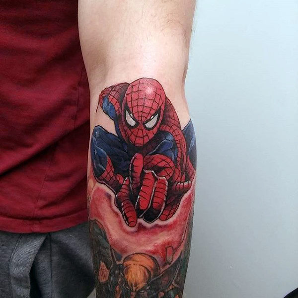 อัศวิน Spiderman Tattoo Forearms