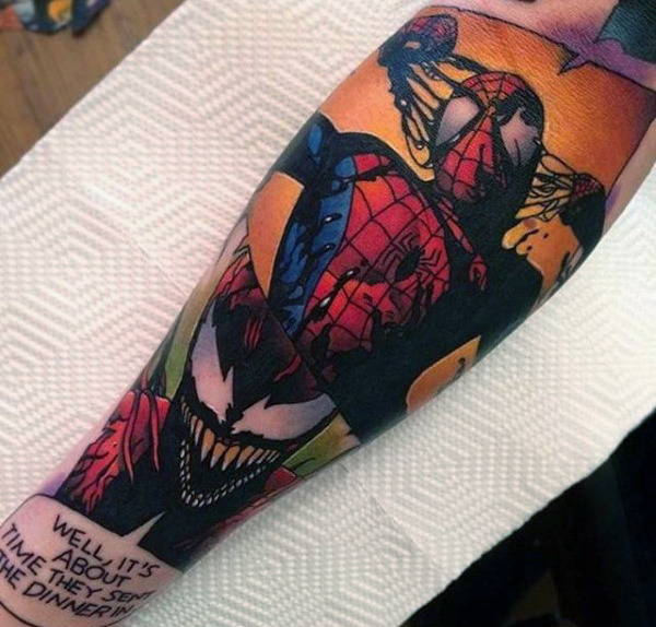 Comic Strip Spiderman Tattoo Male Forearms