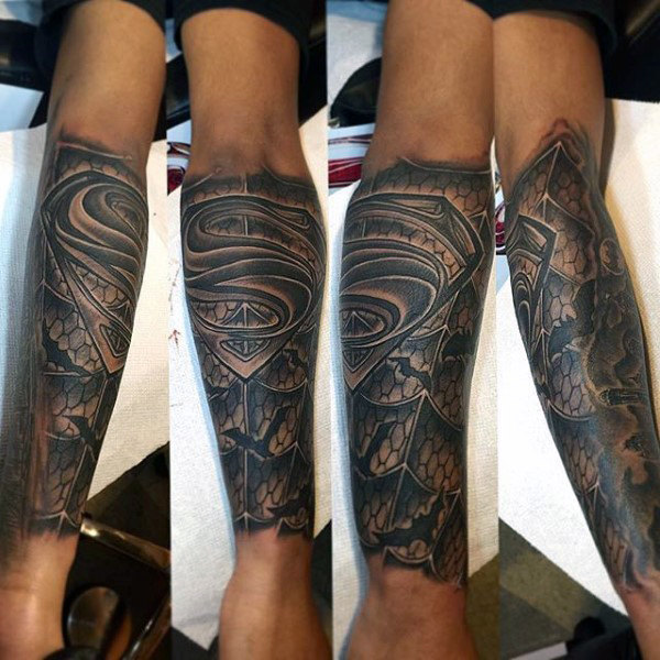 Dicolored Spiderman Tattoo Male Forearms