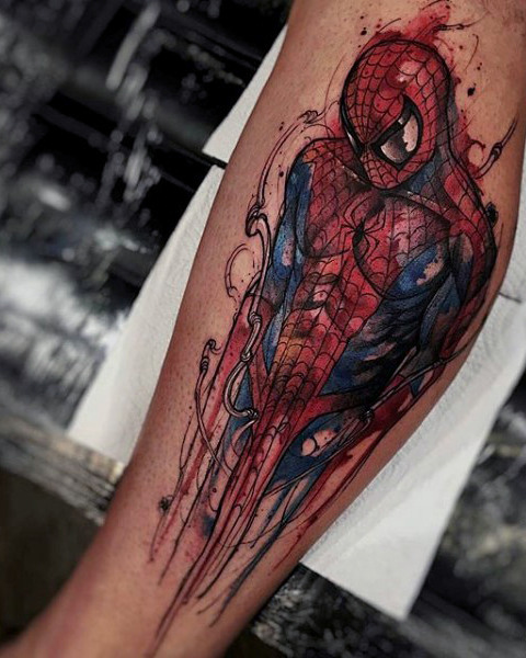 Guys Forearm Bloody Spiderman Tattoo