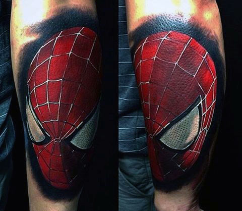 Guys Spiderman Tattoo On Forearms