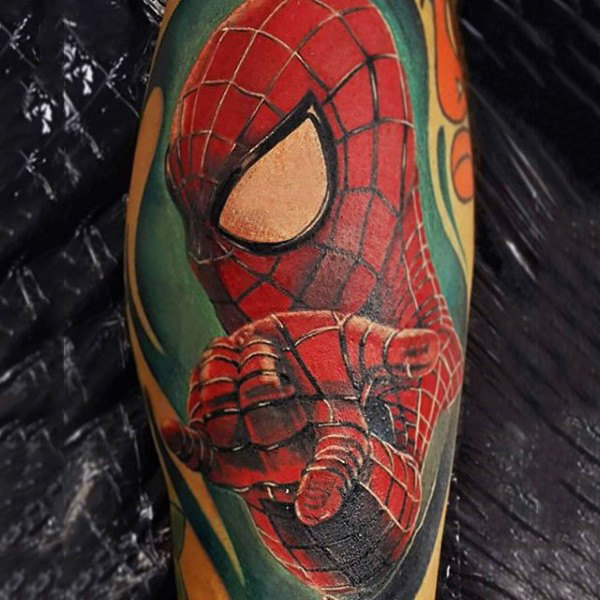 Radical Spiderman Tattoo Male Forearms